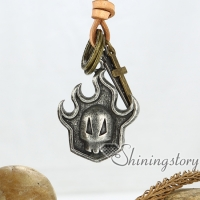 moon crossbones skull cross nameplate circle genuine leather copper metal stainless steel necklaces with pendants