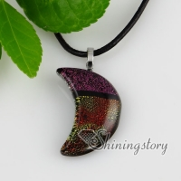 moon fancy color dichroic foil glass necklaces with pendants silver plated
