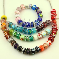 multicolour lampwork glass beads for fit charms bracelets