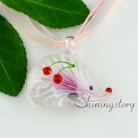 murano glass necklaces hedgehog flowers inside lampwork pendants necklaces with pendants