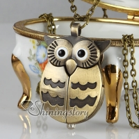 night owl bronze long chain pocket watch pendants necklaces