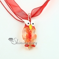 night owl flowers inside murano lampwork glass venetian necklaces pendants