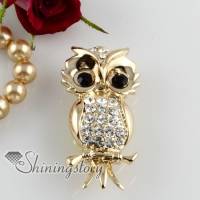 night owl rhinestone scarf brooch pin jewellery