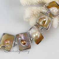 oblong freshwater pearl shell mother of pearl toggle charms bracelets
