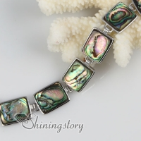 oblong seawater rainbow abalone shell mother of pearl toggle charms bracelets