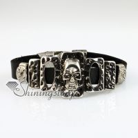oblong skull fleur de lis snap wrap bracelets genuine leather