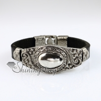 oval fleur de lis snap wrap bracelets genuine leather
