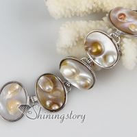 oval freshwater pearl shell mother of pearl toggle charms bracelets