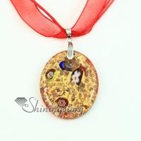oval glitter foil millefiori murano lampwork glass venetian necklaces pendants