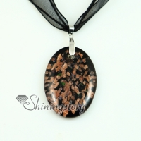 oval glitter murano lampwork glass venetian necklaces pendants