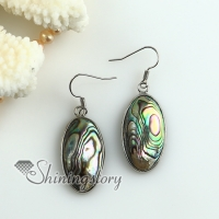 oval oblong rainbow abalone oyster sea shell mother of pearl earrings