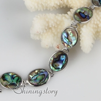 oval seawater rainbow abalone shell mother of pearl toggle charms bracelets