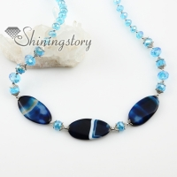 oval semi precious stone jade agate and crystal beads long chain necklaces