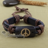 peace sign genuine leather bracelets adjustable