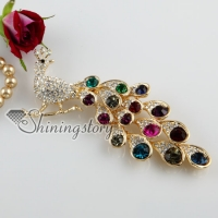 peacock colorful rhinestone scarf brooch pin jewelry