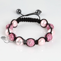 pearls macrame disco glitter ball pave beads bracelets