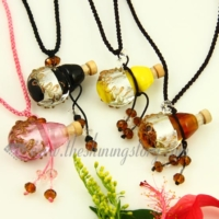 vintage perfume bottle pendant necklace small wish bottle pendant necklace wholesale supplier handcrafted lampwork glass glitter jewellery