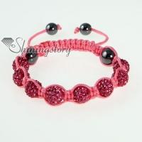 pink cord macrame disco glitter ball pave beads bracelets