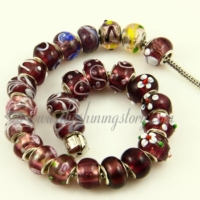 purple murano glass european beads for fit charms bracelets