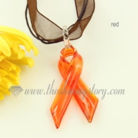 red pink yellow white orange ribbon lampwork murano glass pendants