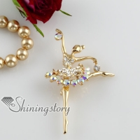 rhinestone ballet dancer scarf brooch pin jewelry