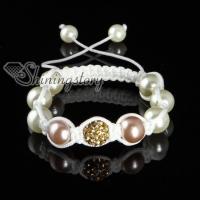 rhinestone beads and pearl macrame bracelets white cord