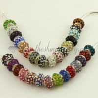 rhinestone big hole beads for fit charms bracelets
