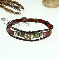 rhinestone charm genuine leather wrap bracelets