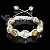 rhinestone disco ball pave beads macrame bracelets white cord