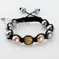 rhinestone glitter ball pave beads and pearl macrame bracelets