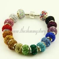 rhinestone large big hole beads fit for charms bracelets