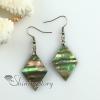 rhombus olive rainbow abalone oyster sea shell mother of pearl earrings