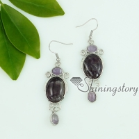 rose quartz tiger's-eye amethyst agate glass opal jade dangle earrings openwork oval