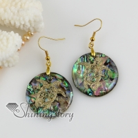 round elephant sea turtle filigree rainbow abalone shell dangle earrings