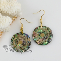 round filigree rainbow abalone shell dangle earrings