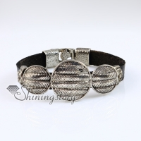 round fleur de lis snap wrap bracelets genuine leather