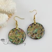 round flower filigree rainbow abalone shell dangle earrings