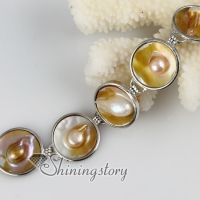 round freshwater pearl shell mother of pearl toggle charms bracelets