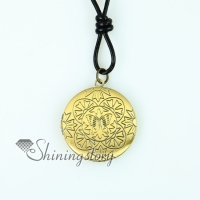 round genuine leather copper locket filigree necklaces with pendants