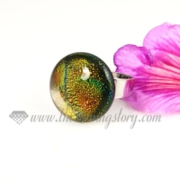 round handmade dichroic glass finger rings jewelry