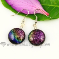 round handmade murano dichroic glass earrings jewelry