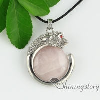 round leopard glass opal tiger's-eye rose quartz jade agate rhinestone necklaces with pendants