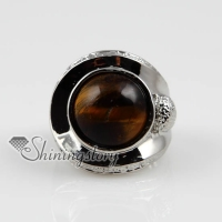 round semi precious stone natural tiger's-eye jade finger rings