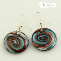 round swirled foil lampwork murano glass earrings jewelry
