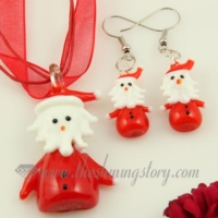 santa claus venetian murano glass pendants and earrings jewelry