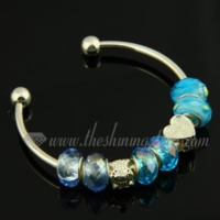 silver charms bangles bracelets with rainbow crystal beads
