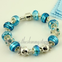 silver charms bracelets with crystal murano glass beads
