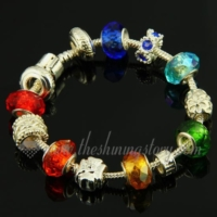 silver charms bracelets with crystal rhinestone beads
