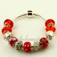 silver charms bracelets with murano glass big hole beads
