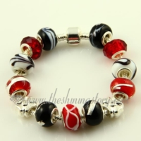 silver charms bracelets with murano glass large hole beads